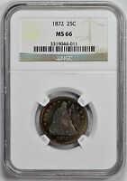 1872 LIBERTY SEATED 25C NGC MS 66