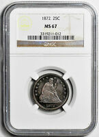 1872 LIBERTY SEATED 25C NGC MS 67