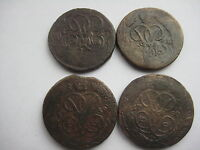 RUSSIA LOT OF 4 COPPER KOPECKS 1757 1758 1759 1760 ELISABETH PETROVNA 1741 1762