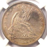 1874 ARROWS SEATED LIBERTY HALF DOLLAR 50C   CERTIFIED NGC XF DETAIL    DATE