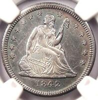 1842 O LARGE DATE SEATED LIBERTY QUARTER 25C   NGC AU DETAILS