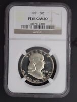 1951 FRANKLIN NGC PF 64 CAMEO. INCREDIBLE CAMEO DEVICES WITH ATTRACTIVE COLOR!
