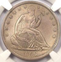 1866 S NO MOTTO SEATED LIBERTY HALF DOLLAR 50C   NGC XF DETAILS   $2,500 IN XF40
