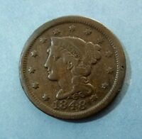 1848 U.S. LARGE CENT COIN   NICE DEPTH & DETAIL