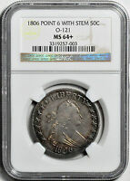 1806 DRAPED BUST 50C NGC MINT STATE 64