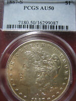 1887-S MORGAN DOLLAR, CERTIFIED PCGS AU-50
