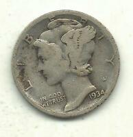 VERY NICE 1934 D FILLED D MERCURY SILVER DIME VINTAGE OLD US COIN AGT506