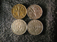 SET AS55 COIN LOT CANADA 5 CENTS GEORGE V & VI 1929 1936 1945 1943 TOMBAC