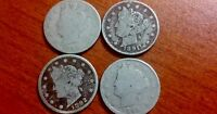 LOT OF 4 LIBERTY V NICKEL 1890-1893 VINTAGE COINS