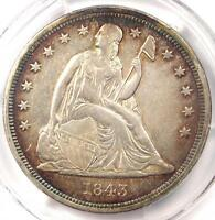 1843 SEATED LIBERTY SILVER DOLLAR $1   PCGS XF DETAIL    EF CERTIFIED COIN