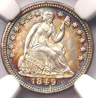 1849 SEATED LIBERTY HALF DIME H10C   CERTIFIED NGC UNCIRCULATED DETAIL UNC MS