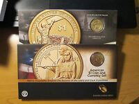 2014 D & 2015 W SACAGAWEA NATIVE AMERICAN COIN AND CURRENCY SET ENHANCED UNC