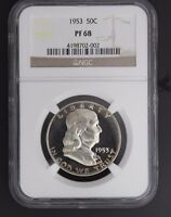 1953 FRANKLIN NGC PF 68. INCREDIBLE COLOR ON AN ALREADY  SPECIMEN