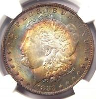 1883 TONED MORGAN SILVER DOLLAR $1   NGC MS63   NICE TARGET RAINBOW TONING COIN