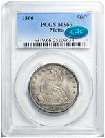 1866 LIBERTY SEATED 50C PCGS MS 66