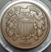 PREMIUM QUALITY  FINE VF 1867 TWO 2C CENT PIECE COIN CCC LISTING
