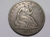 1877 S SEATED LIBERTY SILVER HALF DOLLAR VF   EF  XF 50C NICE DETAILS GREAT RIMS
