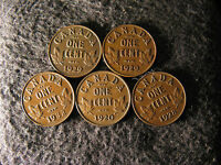 SET AN29 COIN LOT CANADA 1 CENT GEORGE V 5 COINS 1929X2 1920 1928 1932