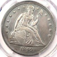 1849 SEATED LIBERTY SILVER DOLLAR $1   PCGS AU DETAILS    EARLY DATE COIN