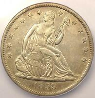 1859 S SEATED LIBERTY HALF DOLLAR 50C   CERTIFIED ICG AU50 DETAILS