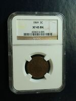 1869 P TWO CENT PIECE NGC EXTRA FINE 45 BN 2C COIN