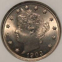 AWESOME 1903 LIBERTY V NICKEL NGC MINT STATE 65  ONE OF ONLY A FEW ON EBAY