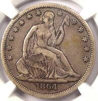 1864 S SEATED LIBERTY HALF DOLLAR 50C   CERTIFIED NGC VF35    CIVIL WAR COIN
