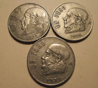 513 MEXICO; 3 COIN LOT; 1 PESO 1970,1971,1978 COMBINE SHIPPING COSTS SEE DESCR