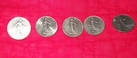1 FRANC COINS  FIVE COINS FRENCH 1971 1975 1977 1960 1969