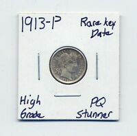 1913 P BARBER SILVER DIME US MINT  DATE SILVER COIN HIGH GRADE PQ STUNNER