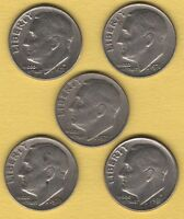 LOT OF 5 ROOSEVELT DIMES1971D 1976P 1977P 1978P AND 1981D