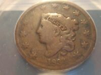 1834 LARGE CENT, ERROR, ANACS, DOUBLE STRUCK OBV W/90 ROTATION, VG-8 DETAILS
