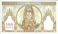 1939 1965 BANQUE DEL INDOCHINE   TAHITI 100 FRANCS IN XF CONDITION PICK: 14D