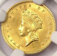 1855 TYPE 2 INDIAN GOLD DOLLAR G$1 COIN   NGC AU DETAILS      NICE LUSTER