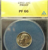 1953 ANACS PROOF 66 ROOSEVELT  WHOLESALE PRICED  NICE HIGH END EARLY 50'S  PROOF