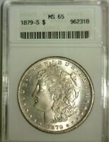 1879 S  MORGAN SILVER DOLLAR OLD ANACS MINT STATE 65    ORIGINAL COIN