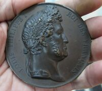 FRANCE LOUIS PHILIPPE I ROI GIANT SIZE BRONZE MEDAL OF TIME 1830 1848 BY CAQUE F