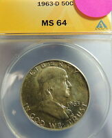 1963 D ANACS MS 64 FRANKLIN HALF  WHOLESALE PRICED   LOW OPEN