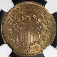 1864 2 CENT PIECE LARGE MOTTO NGC MINT STATE 63 RB 13-19CBT