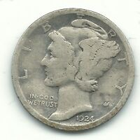 A NICE VINTAGE 1924 P MERCURY SILVER DIME OLD US COIN FEB218