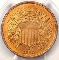 1866 TWO CENT PIECE 2C - PCGS UNCIRCULATED DETAIL MS UNC -  CERTIFIED COIN