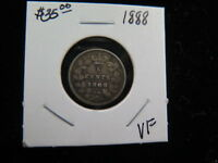 1888 5C CANADIAN FIVE CENT SILVER. FINE CIRCUALTED COIN. STORE SALE0503
