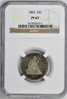 1865 LIBERTY SEATED 25C NGC PR 67