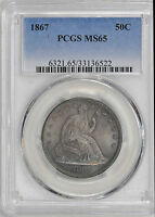 1867 LIBERTY SEATED 50C PCGS MS 65