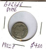 1902 P BARBER DIME  COIN