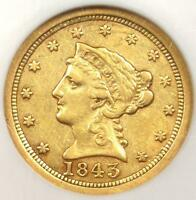 1843 O LARGE DATE LIBERTY GOLD QUARTER EAGLE $2.50   NGC XF45   $1,225 VALUE