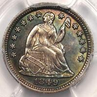 1849/8 SEATED LIBERTY HALF DIME H10C OVERDATE. PCGS UNCIRCULATED DETAIL UNC MS