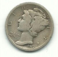 A NICE VINTAGE 1917 P MERCURY SILVER DIME OLD US COIN APR726
