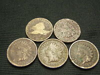 1858 FLYING EAGLE 1859,1860,1863,1863 COPPER NICKEL  INDIANS  LOWER GRADE COINS