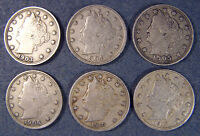 1903, 1904, 1905, 1906, 1910 AND 1912 LIBERTY NICKEL